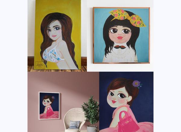 รับวาดภาพPortrait  Painting  Acrylic on Canvas...